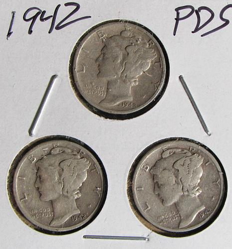 1942 PDS Trio of Mercury Dimes