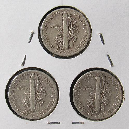 1943 PDS Trio of Mercury Dimes