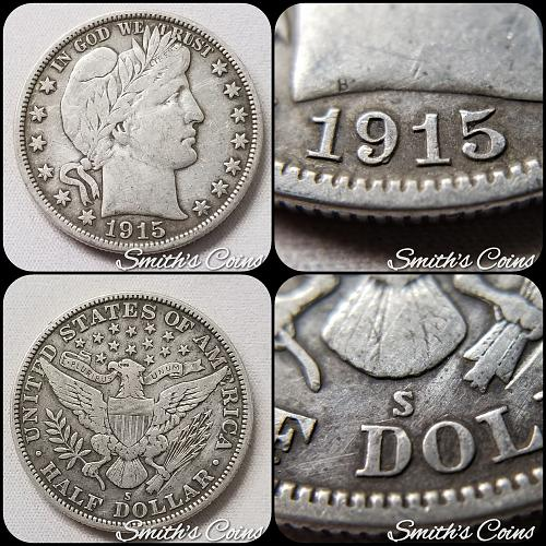 1915 S Barber Half Dollar ~ VF