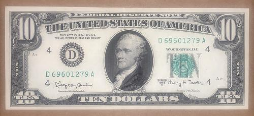 1963 A-Ser. HIGH GRADE XF/AU $10.00 FEDERAL RESERVE NOTE Ser#: D69601279A CRISP/