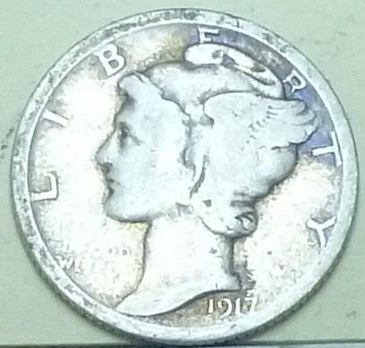 1917-P Good Mercury Dime   ( Q128 )