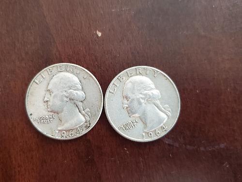 2 silver quarters 1964