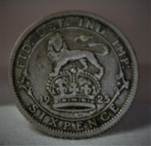 1925 England George V Six Pence  - KM# 815a.1 (50% Silver)