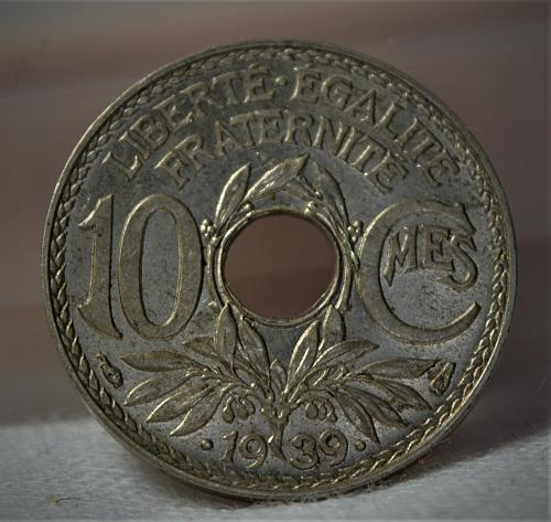 1939 France 10 Centimes KM# 889.1
