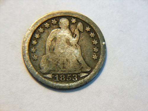 1853-P Silver Seated Liberty Dime