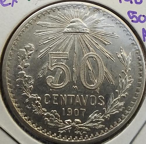 1907 Mexico 🇲🇽 Silver 50 centavos