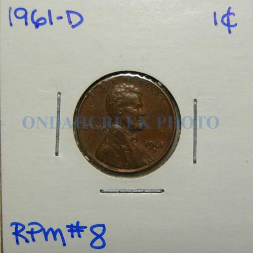 1961-D Lincoln Cent RPM Error Lot of 5 Circ to CHBU