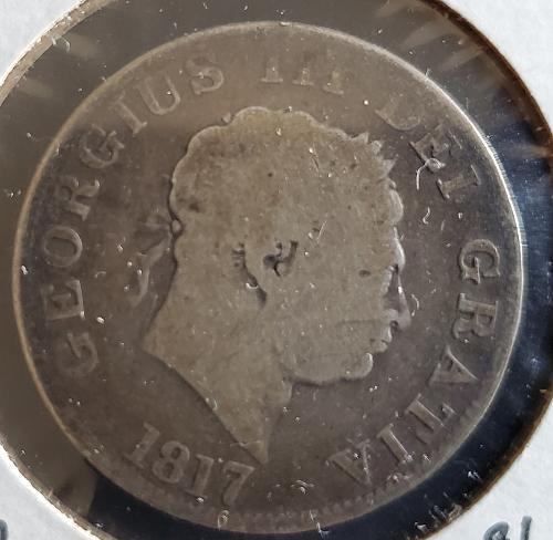 1817- United Kingdom - 1/2 Crown - 92.5% silver - KM #672 - 0144