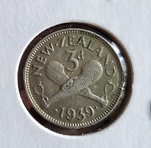 1939 - New Zealand- 3 pence - 92.5% silver - KM #7 - 0146