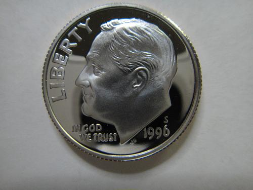 1996-S Clad Roosevelt Dime PF-66 (GEM+) Full Bands Near Full Torch