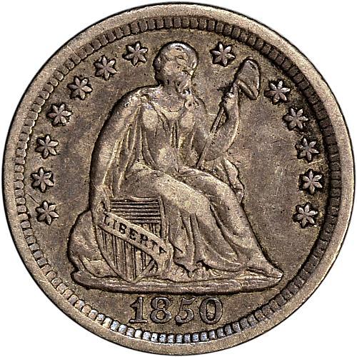1850-O Seated Half Dime H10c VF+ - ToughCOINS