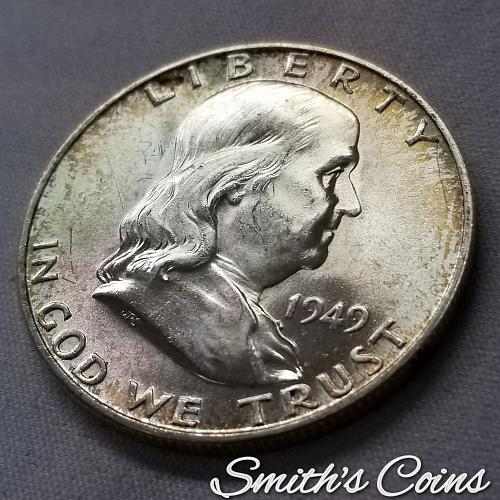 1949 D Franklin Half Dollar ~ FBL ~ MS 64