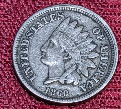1860 VERY FINE ROUNDED BUST INDIAN CENT
