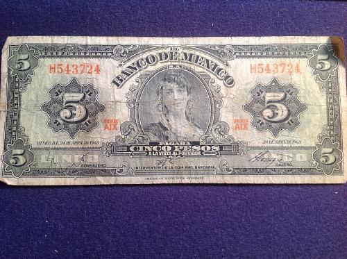 1963 Mexico 5 Pesos Note