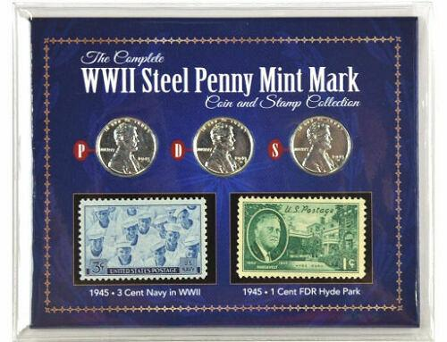 American Coin Treasure WWII Steel Penny Mint Mark & Stamp Collection