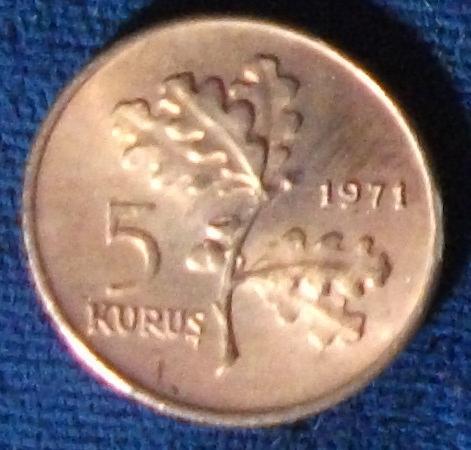 1971 Turkey 5 Kurus UNC