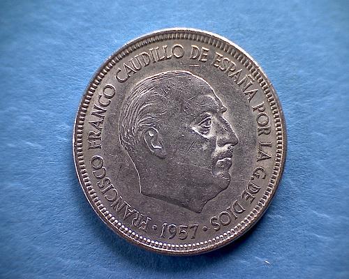 1957 (62) SPAIN FIVE PESETAS