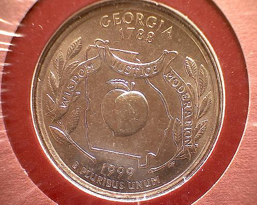 2 - 1999 GEORGIA QUARTER DOLLAR  P&D MINT WITH STAMP SET