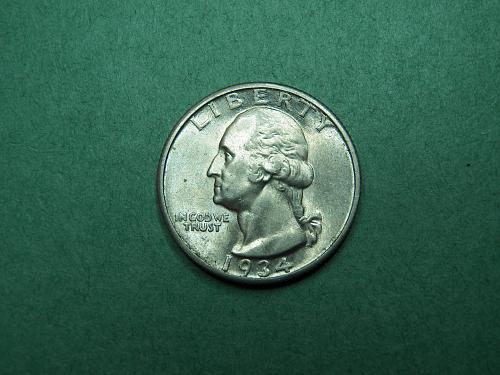 1934 P Washington Quarter Heavy Motto AU Coin   w09