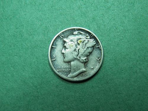 1931 D Mercury Dime Very Fine Coin   w11