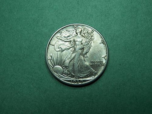 1939 P Walking Liberty Half Dollar XF Coin   w14