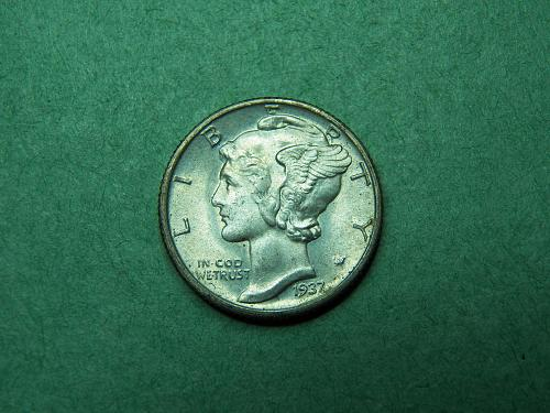 1937 D Mercury Dime Uncirculated Coin   w15