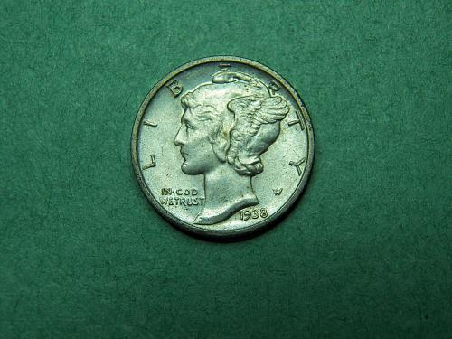 1938 D Mercury Dime Uncirculated Coin   w16