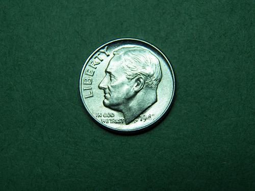 1947 P Roosevelt Dime Brilliant Uncirculated Coin   u09