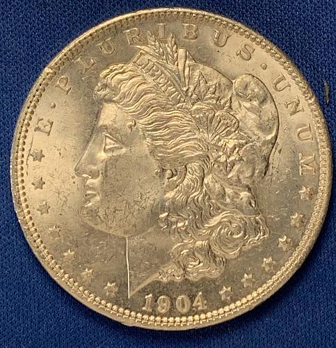 1904 O Morgan Silver Dollar AU 50  JM041
