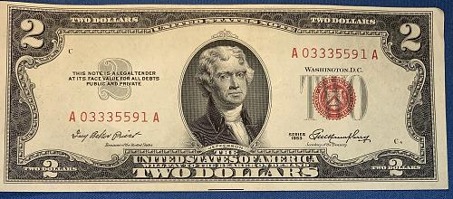"""1953 SERIES RED SEAL $2 US Note New Condition """"Crisp"""""""