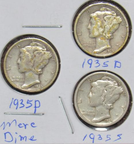 Set of three Mercury Dimes: 1935 D, P, S