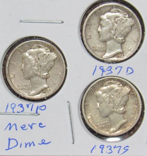 Set of three Mercury Dimes: 1937 D, P, S