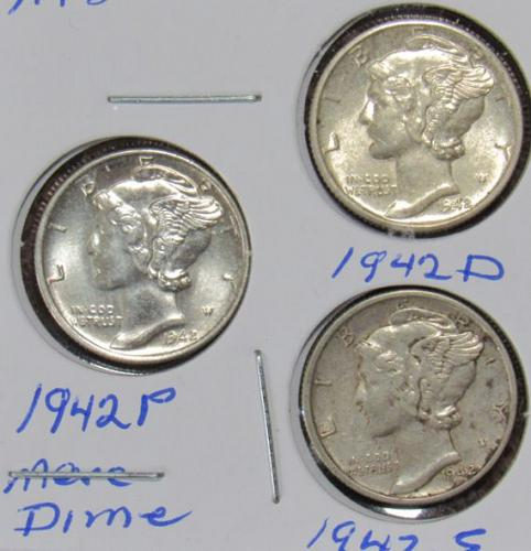 Set of three Mercury Dimes: 1942 D, P, S