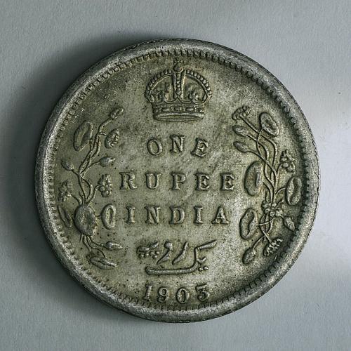 "One Rupee ""KING EDWAD VII"" INDIA 1903,silver XF"