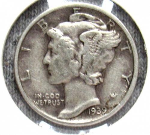 Set of three Mercury Dimes: 1939 P, 1940 P, & 1941 P