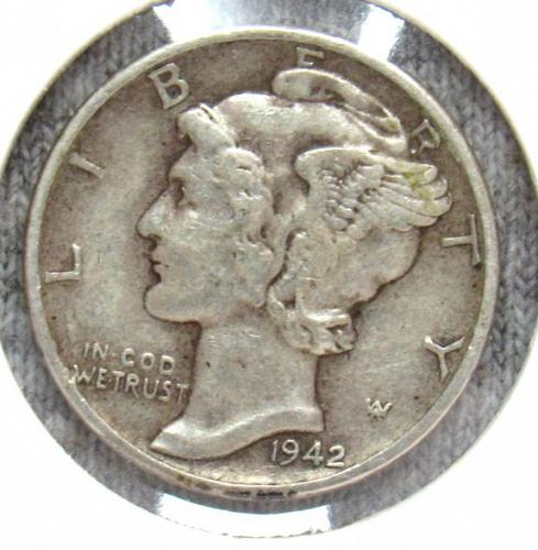 Set of three Mercury Dimes: 1941 P, 1942 P, S