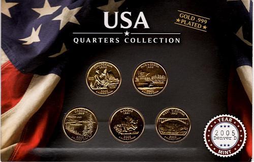 2005 DENVER STATE QUARTERS GOLD PLATED 5 COIN SET