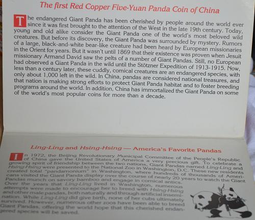 1993 China Panda Copper 5 Yuan - Prooflike
