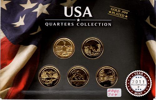 2016 PHILADELPHIA AMERICA THE BEAUTIFUL QUARTERS GOLD PLATED 5 COIN SET