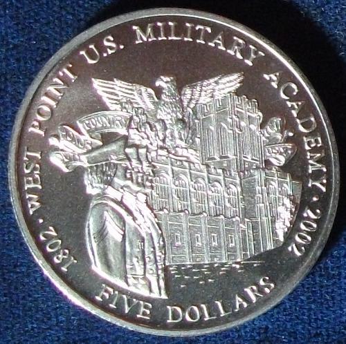 2001 Liberia 5 Dollars BU West Point
