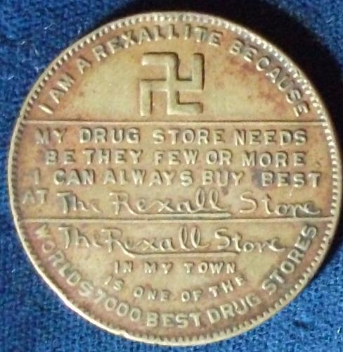 "Rexall Drugs ""Rexallites"" Members Coin/Good Luck Piece"