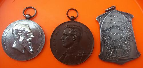 Three Vintage Belgium 🇧🇪 Horse Competition Medals 1907-1914