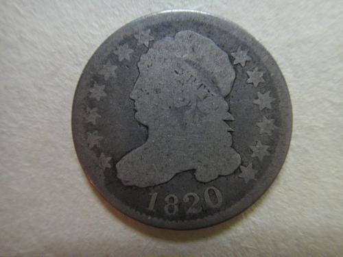 1820 Large Zero Capped Bust Dime Good-4 Nice Original Medium Silver Patina!