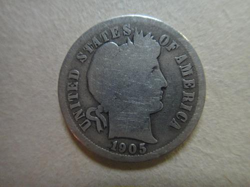 1905-O Micro 'O' Barber Dime Good-4 Neat Sought After Variety!