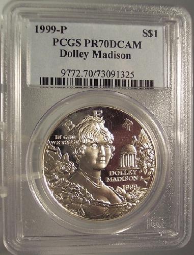 1999-P Silver Dolley Madison Commemorative Dollar PCGS PR70DCAM #G046