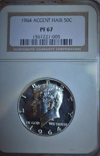 1964 Accented Hair Kennedy Silver Half Dollar Proof (NGC PR67)