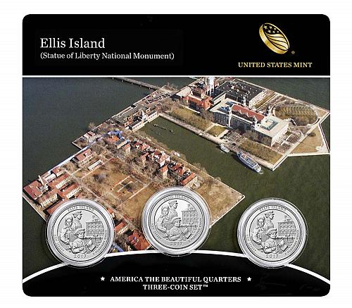 2017 P D & Proof S US Mint America The Beautiful Ellis Island 3 Coin Set Sealed