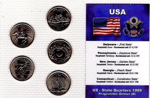 1999 DENVER  STATE QUARTERS 5 COIN SET