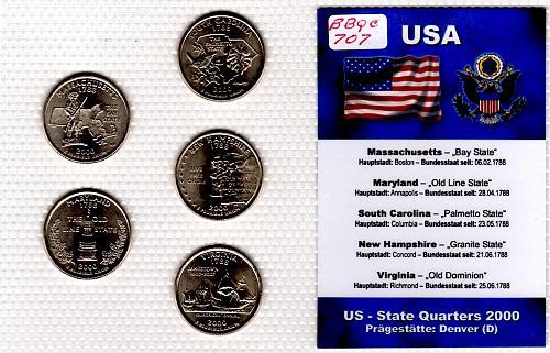 2000 DENVER STATE QUARTERS 5 COIN SET