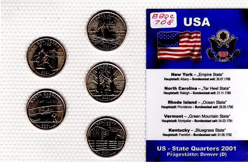 2001 DENVER STATE QUARTERS 5 COIN SET